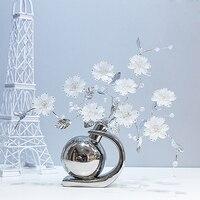 White brown Ceramic creative Crystal flower home decor room decoration handicraft Crafts Figurines & Miniatures wedding Gifts
