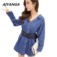 Fashion Dress Women 2018 Sexy V neck Denim Dresses Lace Up Long Sleeve Shirt Dress Casual Loose Office Jean Dresses Vestidos
