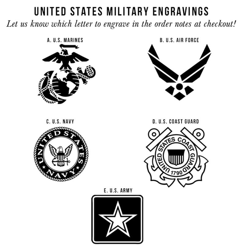Shardon 8mm Mens Military Symbol Logo Engraving Dome Polished Black
