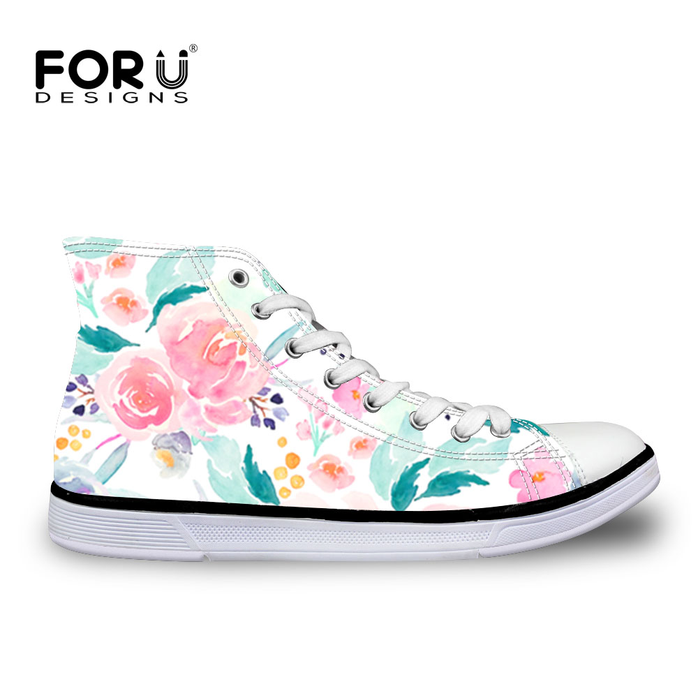 FORUDESIGNS Indy Bloom Pink Plush Florals Women Sneakers Vulcanized Shoes High Top Canvas Shoes Flats Casual Mujer Zapatillas