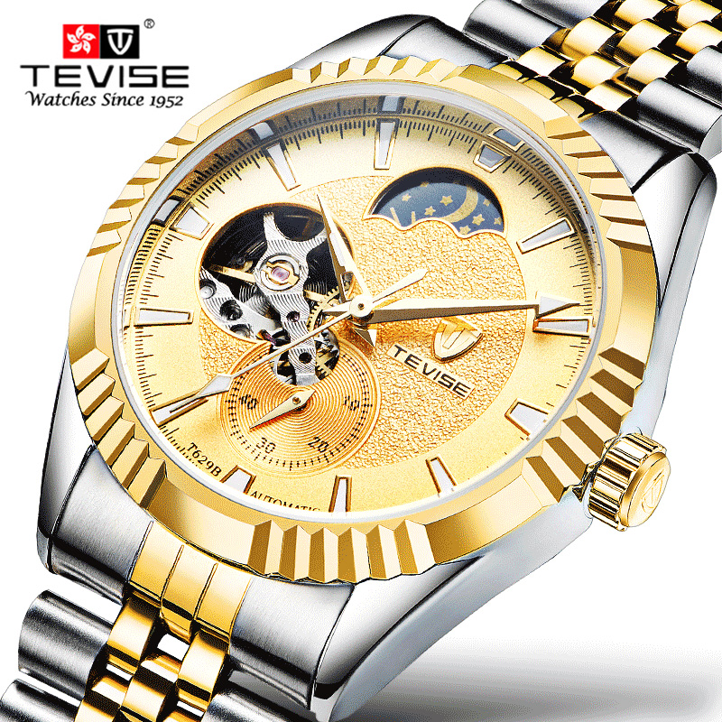 TEVISE Tourbillon Watches Mens Automatic Watch Men Luxury Brand Famous Stainless Steel Mechanical Watch clock Relogio masculino tevise men black stainless steel automatic mechanical watch luminous analog mens skeleton watches top brand luxury 9008g