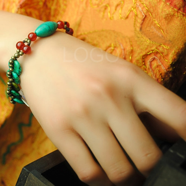 Best Quality Women New Agate Bracelet Hand Craft Chain Bracelet with Turquoise and Bell