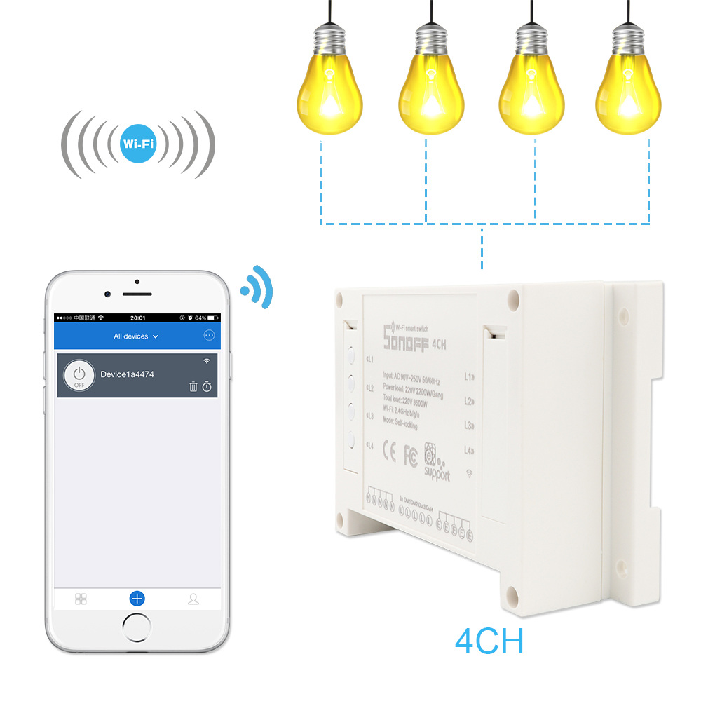 Sonoff 4CH Channels Smart Remote Control WiFI Switch Home Automation Module on/off Wireless Timer Diy Switch Work With Alexa