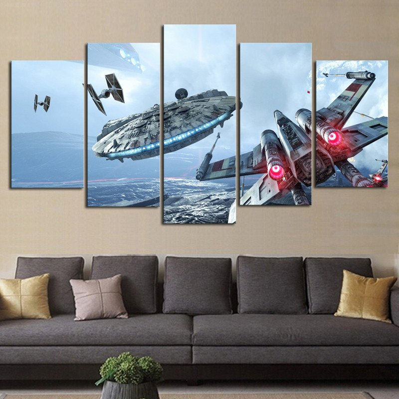 Hd print 5 pieces canvas wall art millennium falcon x wing for Modern home decor pieces