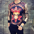New Designs Men's Clothes Beauty Mask Print T Shirt Men Long Sleeve Patchwork Dress Slim Fit t-shirts Homme Hip Hop Boys Tees