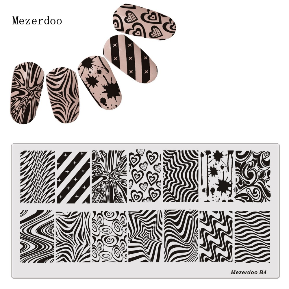 Horror Blood Drops Zebra Nail Plates Kunsttrykk Stamp Plates Nail Polish Nails Template Manicure Stencil DIY Styling Tools