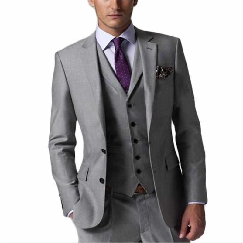 グレー男性スーツスリムフィットタキシードブレザー結婚式新郎ファッションフォーマルスーツ (ブレザー + パンツ + ベスト + ネクタイ)