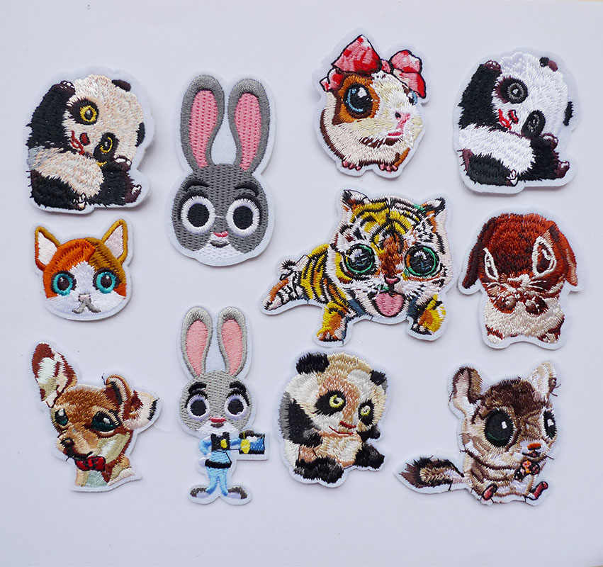1Pcs 3D Cute Dog Rabbit Panda tiger Animals Sewing Embroidery Iron on Patches for Clothes Stripes Sticker Jeans Appliques Badges