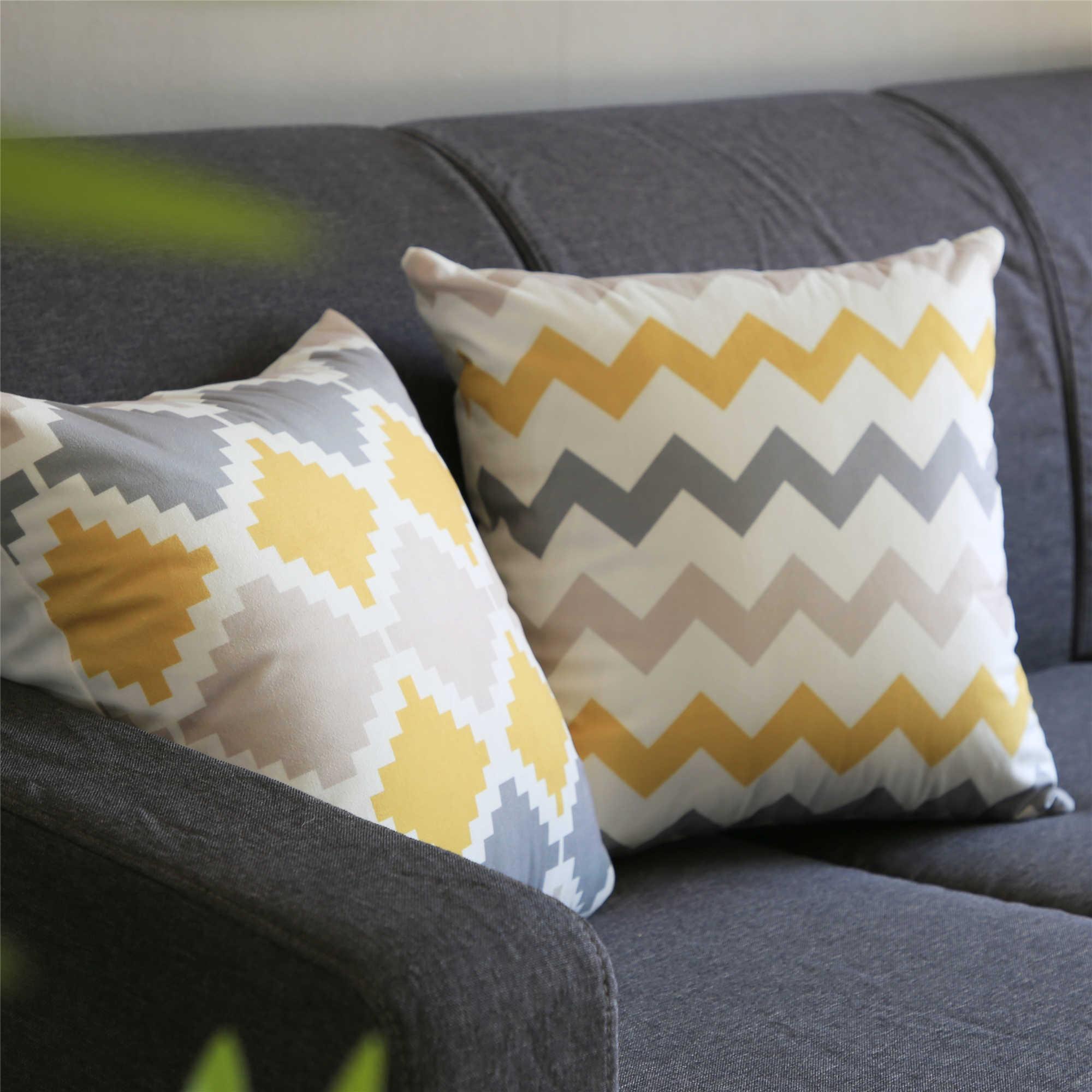 Cinza e Amarelo Geométrica Nórdico Topfinel Microfibra Capa de Almofada Throw Pillow Caso Capa de Almofada Almofada Do Sofá Cama Travesseiro Decorativo