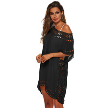2019 Summer New Bikini Cover Up Solid Hollow Out Beach Dress Sexy Loose Swimwear Women Tunic robe de plage femme Ladies Swimsuit