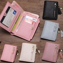 Купить с кэшбэком 2019 Tassel Women Wallet Small Cute Wallet Women Short Leather Women Wallets Zipper Purses Portefeuille Female Purse Clutch
