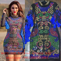 2017 New Fall Embroidery Beaded Fringe Dress Sexy Celebrity Runway Winter Embroidery Dress Baroque Rhinestone  Tassels Dress