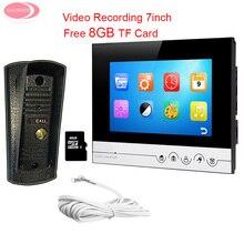 Buy 7inch UI Display Home Phone Intercoms With 1 Monitors Recording + 8GB TF Card Intercoms Night Vision Metal Waterproof Camera Kit