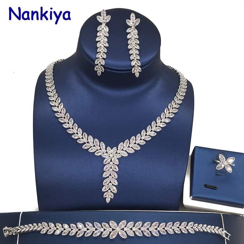 Nankiya New Leaf Pandent Wedding Jewelry Set Sparkling Eye Cubic Zirconia Crystal 4pcs Bridal Women Wedding