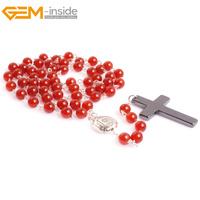 Gem Inside Classic Simple Cross Pendants Necklaces Titanium Steel Rosary Beads Catholic For Female And