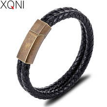 XQNI Classic New Bracelet Multicolor Selection Stainless Steel Stitching Leather