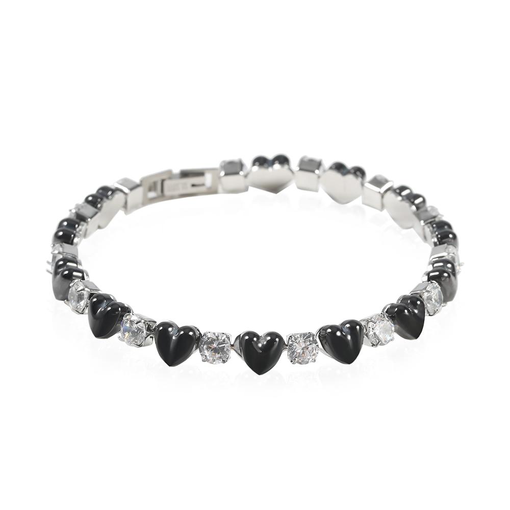 TL Black Stone Charm Bracelet Hollow Circle / Clover Handmade Bracelets & Bangles for Women Gold/Silver Stainless Steel Jewelry