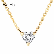 BAIHE Solid 18K Yellow Gold 0.12ct Certified H/SI 100% Genuine Natural Diamond Women Trendy Fine Jewelry Elegant gift Necklaces