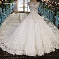 LS00158 Vestido De Noiva See Through Back Appliques Cap Sleeves Lace Ball Gown Beading Lace Luxury