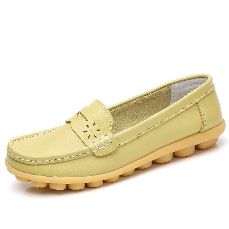 Cuero Tamaño Mocasines Planos Los verde En Claro Resbalón Plus Suave Marino Las Casuales Mujer azul Negro 2019 De amarillo 44 Zapatos Mujeres 7YFx6