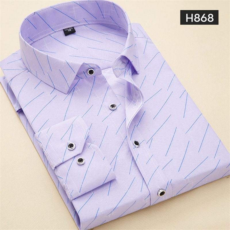 2019 Spring Fashion Men Casual Shirt Printed Brand Square Collar Slim Fit Lightweight Floral Thin Social Man Dress Shirt Yn10294
