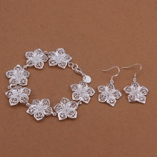 Silver plated fashion ornate noble high quality refined luxury flowers two piece sets hot selling classic silver jewelry S453