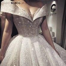 SuperKimJo Luxury Wedding Dresses 2019 Vestido De Noiva Princesa Boho Sparkle V Neck Ball Gown Robe Mariee