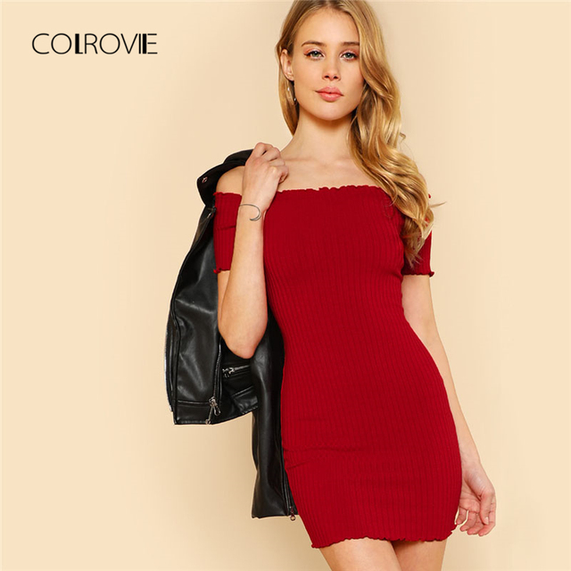 ced7296b5696 COLROVIE Lettuce Edge Detail Ribbed Bardot Dress 2018 Summer Red Short  Sleeve Short Female Dress Off