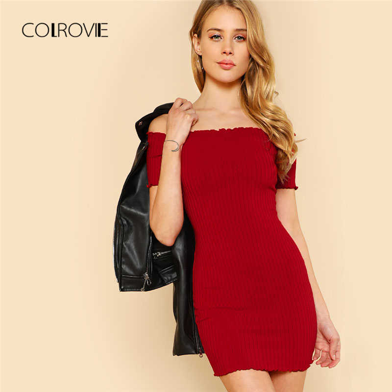 0abb238b9e92 COLROVIE Lettuce Edge Detail Ribbed Bardot Dress 2018 Summer Red Short  Sleeve Short Female Dress Off