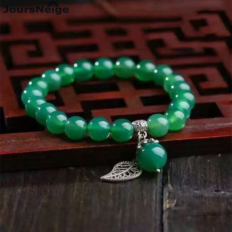 Special Price Green Natural Crystal Bracelets Bead 8mm Tibetan Silver Small Leaf Pendant for Women Single lap Crystal Bracelet