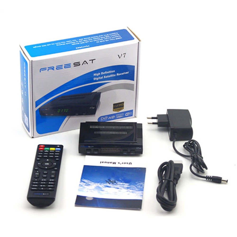 New Professional Practical Freesat V7 HD Satellite Receiver Full 1080P + 1PC Professional DVB-S2 HD Support Set Top Box freesat v7 hd powervu satellite tv receiver dvb s2 with 3months free africa cccam account stable on starsat 5e