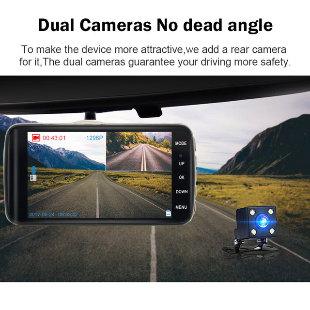 Junsun 4.0″ LDWS Car DVR FHD 1296P Dual Lens Dash Cam Camera 170 Auto Registrator with Rear Camera WDR Night Version Voice Alarm