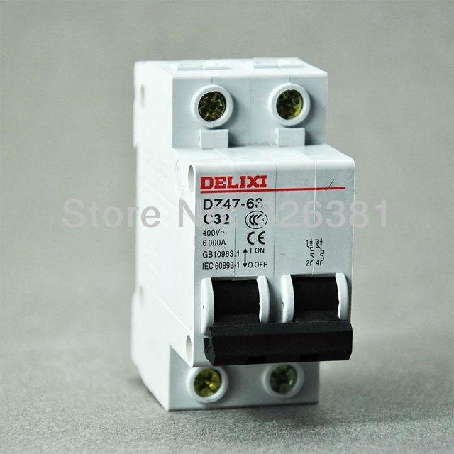 DELIXI Brand DZ47 63 C32 Type 2P AC 400V Circuit Breaker 16A 63A Air ...