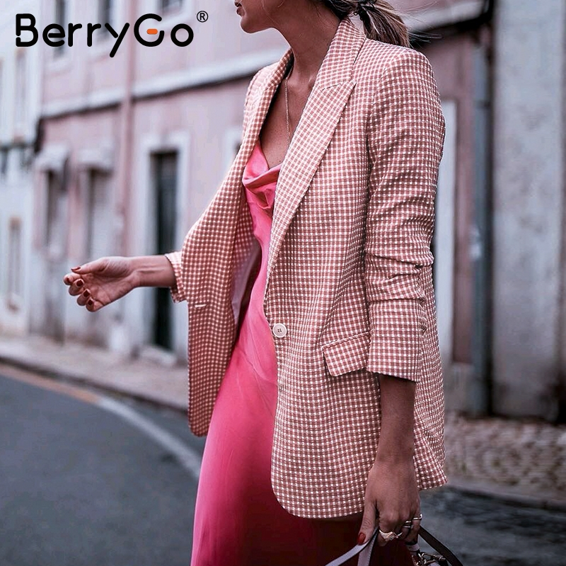 BerryGo Office Ladies Pink Plaid Blazer Long Sleeve Pockets Single Button Female Casual Coats Fashion Outerwear Chic Tops Blazer