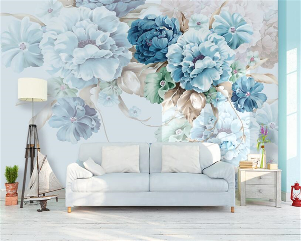 Beibehang Custom Photo Wall Mural 3d Wallpaper Luxury: Beibehang Custom Photo Wallpaper Hand Painted Peony Flower