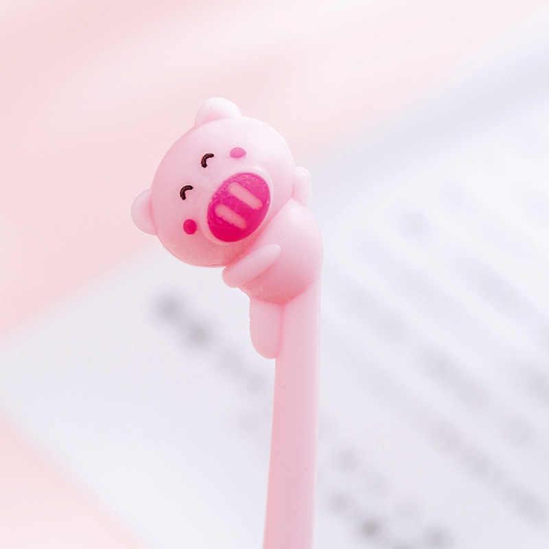 1 قطعة لطيف الوردي خنزير شكل قذيفة هلام القلم DIY مكتب القرطاسية و اللوازم المدرسية السلس الكتابة الحبر الأسود 0.38 مللي متر القلم Kawaii