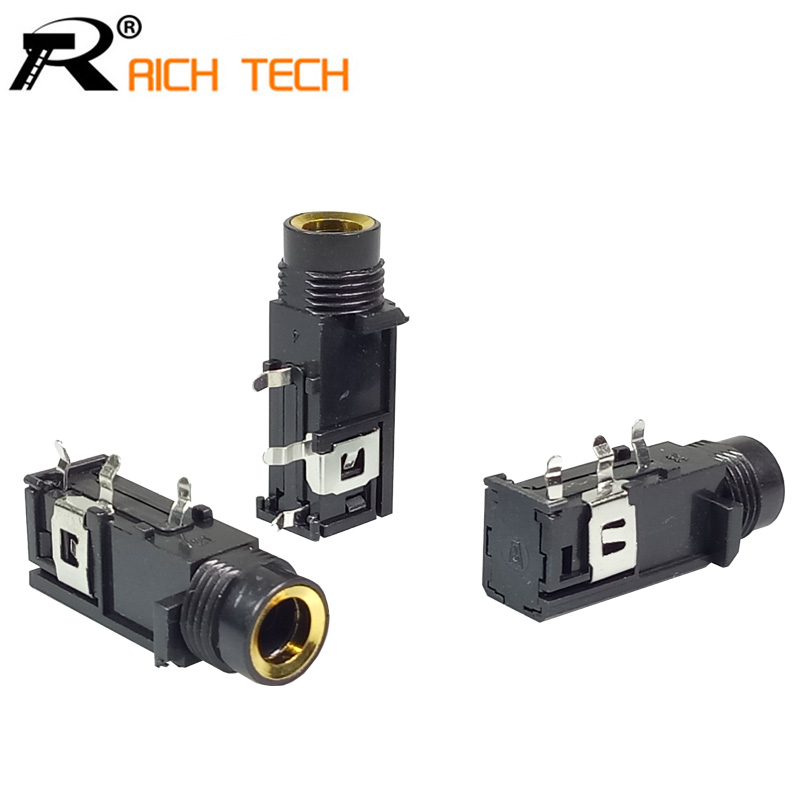 Jack 6.35mm Mono Female Socket Connector Speaker Plug Jack Audio Adapter 3pin Microphone Headphone 3pcs/lot