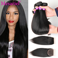 Virgin Brazilian Straight Hair With Closure Natural Black 7a Virgin Straight Hair With Lace Closure 4 Bundles With Closure