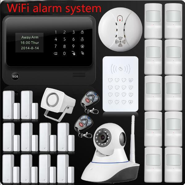 Wireless WiFi GSM GPRS SMS Home Security Alarm System LCD ISO Android App Control Pet Immune Pet Detector Password Keypad 16 ports 3g sms modem bulk sms sending 3g modem pool sim5360 new module bulk sms sending device