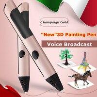 2017 Più Nuova Modalità Privata Filament 3D Pen Con Free 2 Colore PCL 3D Pen Stampa 3 D Penne per I Bambini Regalo Di Compleanno Spedizione Gratuita
