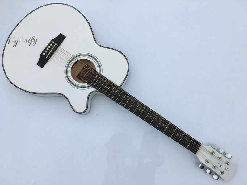 все цены на  white thin body electric-acoustic guitar with free case free shipping  онлайн