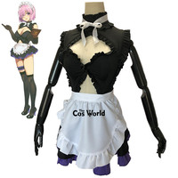 Fate Grand Order Mash Kyrielight Sexy Tube Tops Maid Apron Dress Uniform Outfit Anime Cosplay Costumes