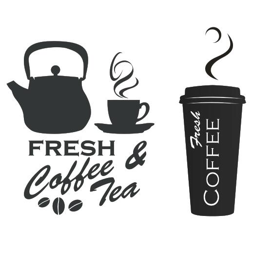 Coffee shop vinyl decal fresh coffee tea logo mural art wall sticker coffee cup sticker cafe bar window glass home decoration in wall stickers from home