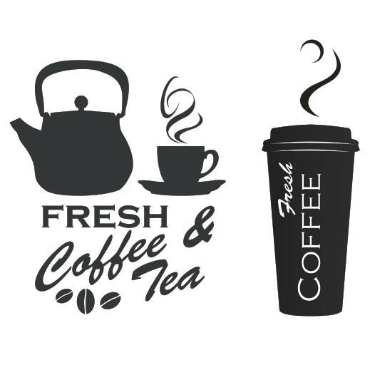 Coffee Shop Vinyl Decal Fresh Coffee Tea Logo Mural Art