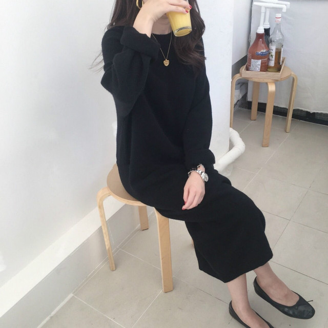 Women autumn Winter Long Sweater Dress Female Long Sleeve Straight oversized Knitted dresses round collar cozy 4
