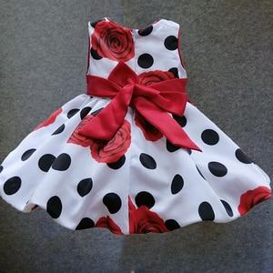 Image 2 - Платье для маленьких девочек, летнее платье в черный горошек с красным бантом для младенцев, вечерние платья принцессы без рукавов с цветочным рисунком
