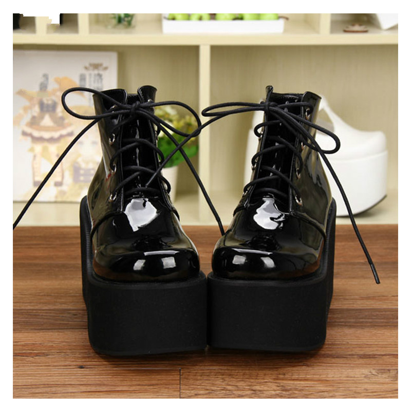 Princess sweet punk shoes Star with a single thick soled high-heeled shoes boots wedges platform retro shoes short boots pu9635