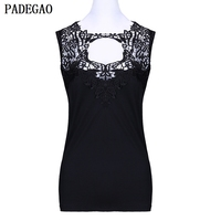 PADEGAO Black Lace Tank Top Sexy Hollow Out Casual Party Camis Women O Neck Slim Crochet
