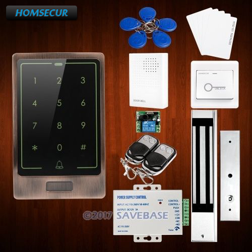 HOMSECUR DIY Waterproof Access Control System with Zinc Alloy Case Organic Glass Panel 280KG Magnetic Lock