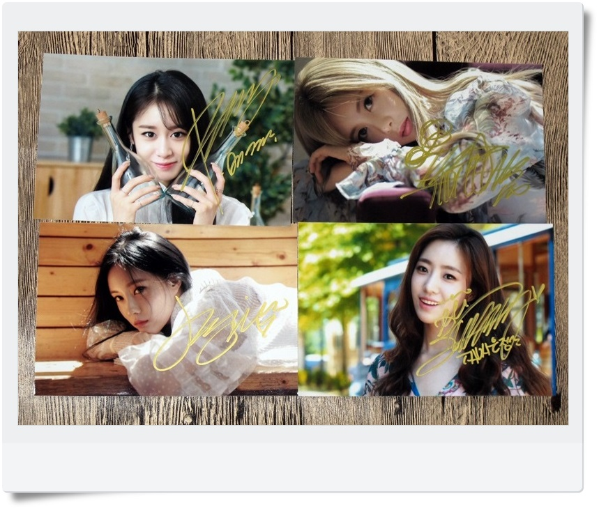 T-ARA TARA Ji Yeon EN jung Hyomin  Autographed Photo What's my name 4 photos set 4*6 free shipping  062017A signed tfboys jackson autographed photo 6 inches freeshipping 6 versions 082017 b